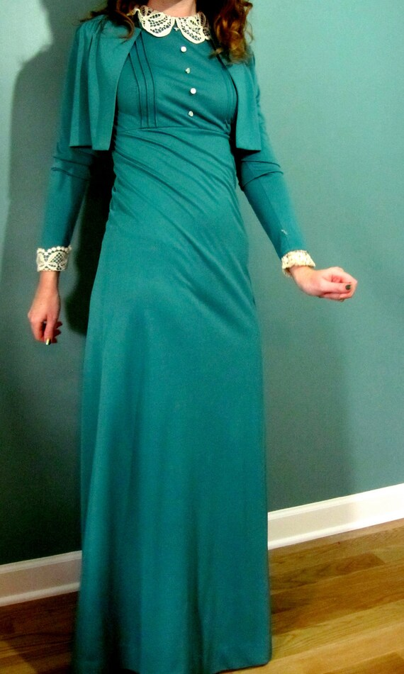 RESERVED for NIKI  |  Vintage Dress: Gay Gibson Teal Gown and Bolero