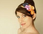 Festive Spring Fascinator, Pastel hair accessories, Vintage flower headband, Boho chic hair accessory, bridesmaids headpiece golden leaf
