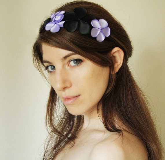 Ophelia - flower crown headband, flower head garland, hair accessory for women in Lavender and black satin