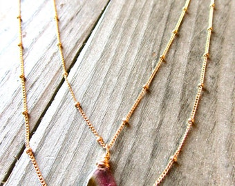 Stadium Love Watermelon Tourmaline Pendant with 14kt Gold Filled Satellite Chain