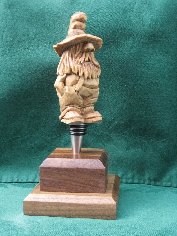 Hand Carved Handmade Rufus the Moonshiner Bottle Stopper Wood Carving