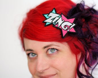 SALE - ZING Hair Clip, Comic Book Barrette, Various Colours - Christmas In July CIJ