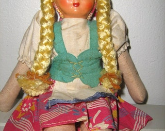 Vintage 1950s cloth doll, Polish, well-loved vintage friend, ethnic, pretty, sweet and adorable