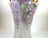 Elegant Victorian Vase Hand Painted Porcelain Lavender Wisteria Flowers Vintage Home Decor