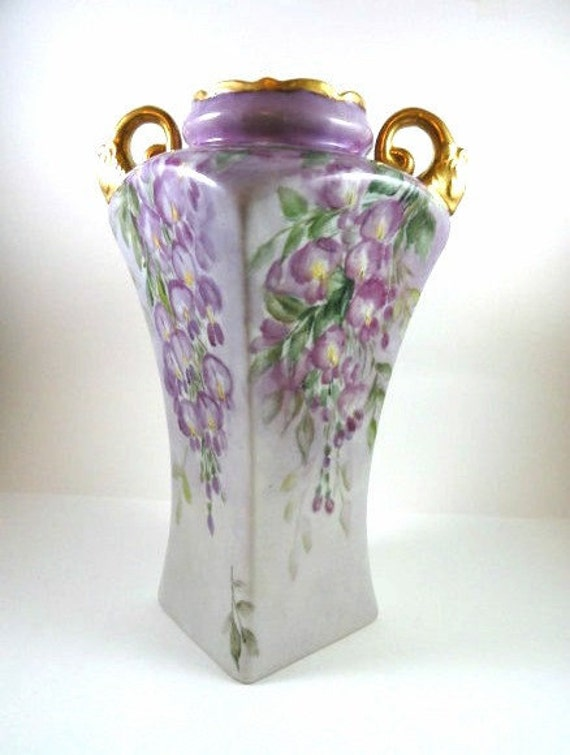 Elegant Victorian Vase Hand Painted Porcelain Lavender