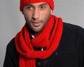 The Papi Collection, Crochet Men Scarf, Knit Rib Men Hat, Knit Beanie, Unisex Hat and Scarf Set, Crochet Scarf, Crochet Accessories, Beanie