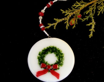 Fused Glass Christmas Wreath Ornament on White Glass with Red and White Beaded Strand