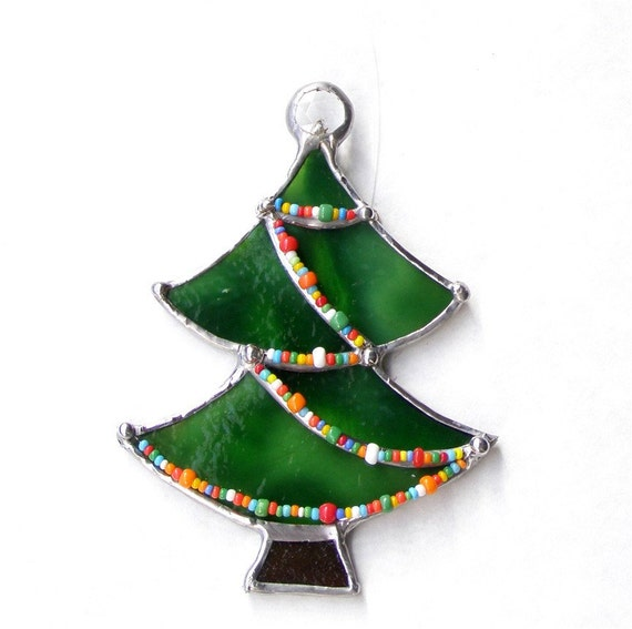 Items similar to stained glass christmas tree ornament for Christmas tree items list