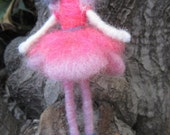 Needle Felted Doll, Felted Ballerina, Waldorf toy, wire swing, posable doll , pink ballerina, blue hair, Original design by Borbala Arvai