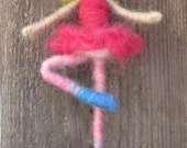 Needle Felted Ballerina, wire swing, Waldorf doll, felted toy