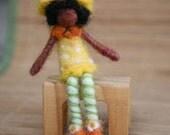 Needle Felted Orange Blossom, Strawberry Shortcake, Felted doll, Waldorf toy, Original design by Borbala Arvai