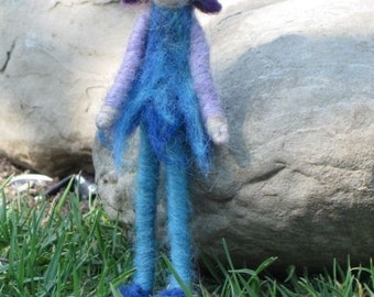 Needle Felted Elf boy with Snail Friend, Waldorf inspired, Nature table, boy doll,  Made to order