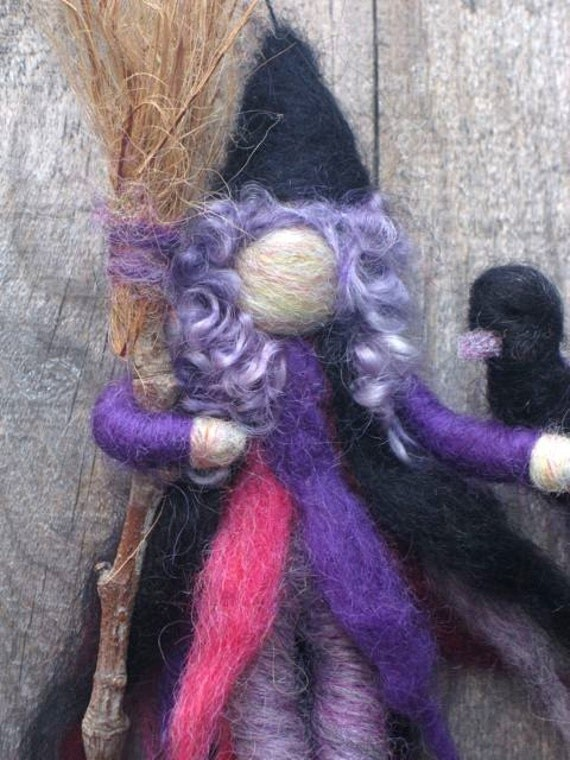 Needle Felted Witch, Kitchen Witch, Waldorf Inspired, Original design by Borbala Arvai, Made to order