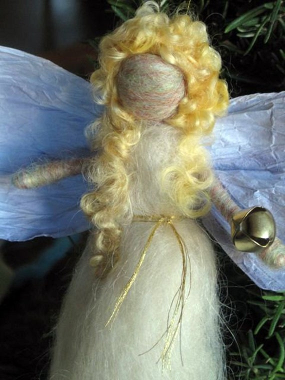 Needle Felted Angel, Angel Ornament, Waldorf Winter Fairy, Nativity Set, Winter Nature Table, Christmas, White, Blonde, Paper Wings and Bell
