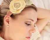 Soft  summer rhinestone swirl sage cream posy headband--creamy yellow, sage and fabric leaves. Women, teens, girls.
