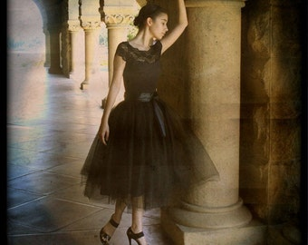 Black tulle skirt tutu for women.  Lined with black satin and a black satin ribbon waist. Adult tutu. Classic retro style.