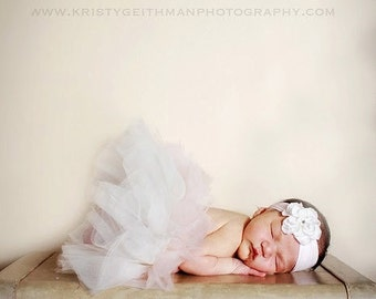 Ivory and blush pink newborn sewn tutu and flower clip-- portrait and nursery  decoration..