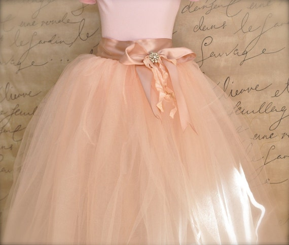 Vintage Princess Flower Girl Tutu and Bow in antique pink.