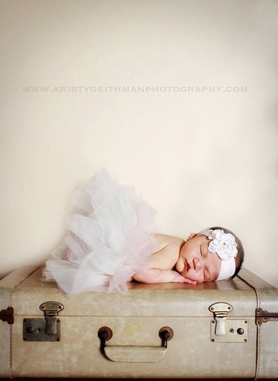 Ivory and blush pink newborn sewn tutu and hair clip-- portrait and nursery  decoration..