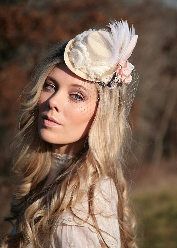 Cream and blush pink cameo mini top hat  - women, teens, girls. Shabby chic Marie Antoinette style. Weddings, romantic,  photo prop.