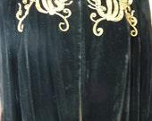 Vintage Black Velvet 1940s opera Jacket Coat
