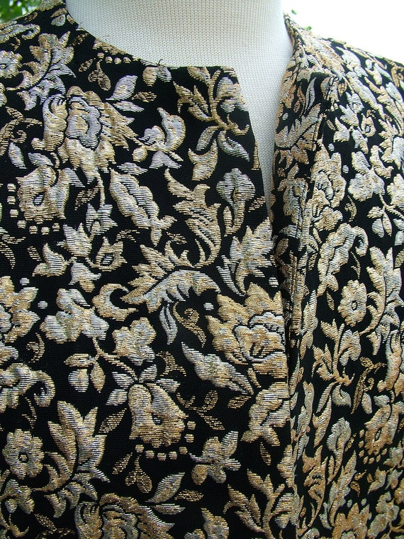 1960s Vintage black gold siver brocade eveing jacket a stunner perfect condition