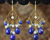 18K Solid Gold Chandelier Earrings with LAPIS, TOPAZ