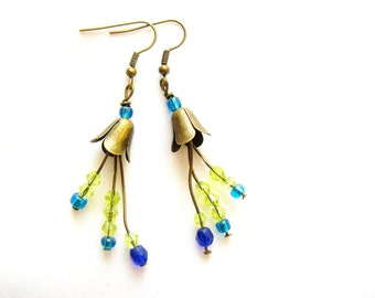 Flower Statement Earrings, Long Dangle Earrings in blue and green, Brass earrings