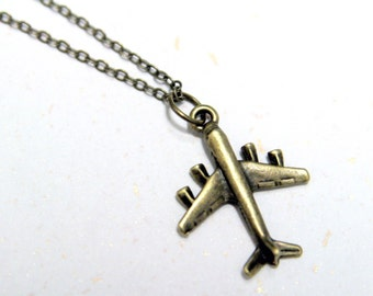 Fly high - Small Plane Necklace (N112) in vintage brass color