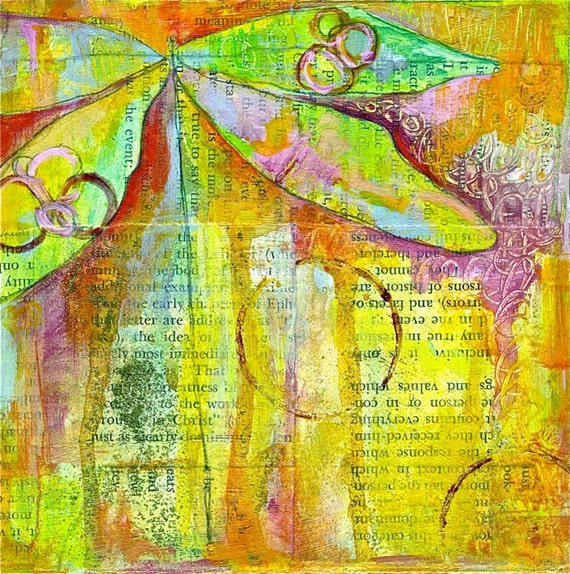 "Contemporary Dragonfly Giclee print MESSENGER OF WISDOM 11"" x 14"""