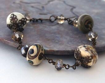 Artisan Lampwork Bracelet, Earth Toned