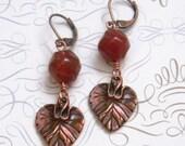 Carnelian earrings Copper earrings Copper Leaf earrings Gemstone earrings Womens Fashion Jewelry
