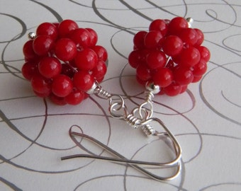 Red Beaded Earrings Red Coral Earrings Sterling Silver Earrings Beaded Bead Dangle Earrings
