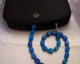 Blue Quartz Necklace with Hematite Rondelles - this years hottest color by Mama's Got A Bead Box on Etsy