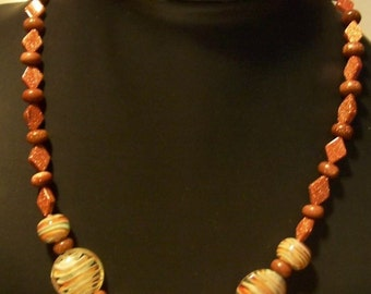 Brown goldstone and lampwork beads necklace by Mama's Got A Bead Box on Etsy