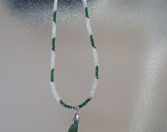 AAA Emerald Green Microfaceted Onyx, Rainbow Moonstone Rondelles and Sterling Silver Necklace , Onyx jewelry, Rainbow Moonstone jewelry