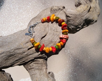 Red, Yellow, Orange Turquoise Bracelet, Sterling silver jewelry, Turquoise jewelry, Southwestern style, HOT summer color bracelets, BOHO