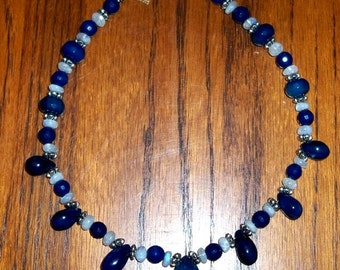 Sterling Silver, Sapphire Blue Chalcedony, Rainbow Moonstone and Faceted Blue Agate Statement Necklace, sapphire jewelry, sterling silver