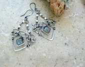 Labradorite earrings in sterling with pearls