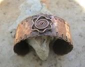 flower cuff bracelet in copper