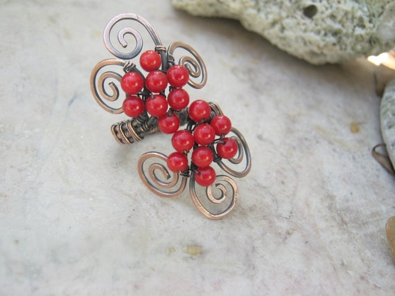 red coral swirl ring in copper