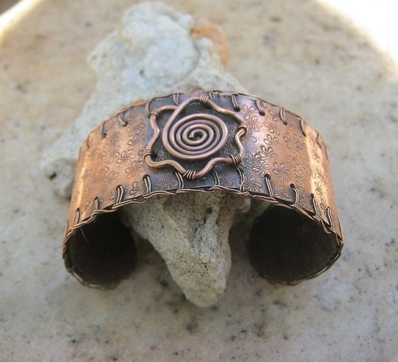 flower cuff bracelet in copper