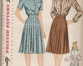 Simplicity 4693 Size 36 Sporty Pleated Skirt and Blouse from the 1940s
