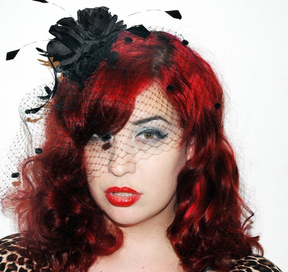 Film Noir Black Birdcage Veil Fascinator with Feathers and Silk Flowers Pinup Vintage Inspired