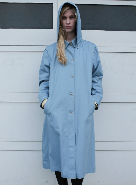 Vintage 1980's Powder Blue Hooded London Fog Trench Coat S/M