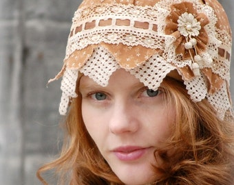 Cloche Hat Calico and Lace 1920s Flapper Style