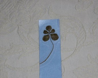 Real 5 leaf clover Bookmark for St. Patrick's Day  will bring Good Luck