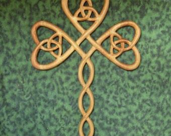 Trinity Shamrock Cross-Irish Christian-Three Leafed Clover Wood Carved