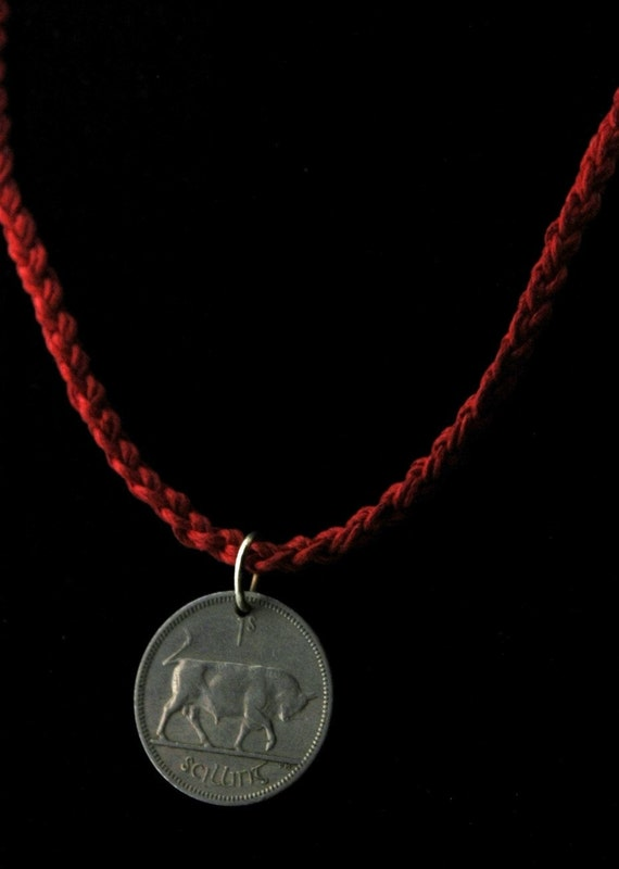 Braided Irish Linen Necklace with Vintage Irish Coin - Shilling