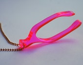 Neon Pink Wishbone Charm Necklace - Long Gold Chain - Lasercut - Fluorescent Fashion Jewelry